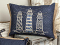 "COASTAL LIGHTHOUSE EMBROIDERED PILLOW - 20"" X 13"" - NAUTICAL DECOR"