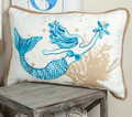 "MERMAID & STARFISH EMBROIDERED PILLOW - 20"" X 13"" - NAUTICAL DECOR"