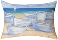 "WHITE ROWBOATS INDOOR OUTDOOR OBLONG PILLOW - 18"" X 13"" - BEACH PILLOW - NAUTICAL DECOR"