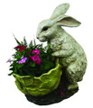 PAINTED BUNNY RABBIT WITH CABBAGE PLANTER - BUNNY RABBIT CONTAINER