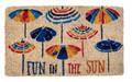 """COLORFUL BEACH UMBRELLAS COIR DOORMAT - 18"""" X 30"""" - NAUTICAL DECOR"""