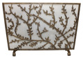 FLOWERING TREE FIREPLACE SCREEN - MESH BACK - ANTIQUE GOLD