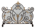 """VERSAILLES"" ACANTHUS LEAF FIREPLACE SCREEN - MESH SCREEN - DARK BROWN & ANTIQUE GOLD FINISH"