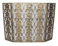 """KINGSTON"" GOLD SHELL DESIGN FIREPLACE SCREEN - MESH BACKING - LIGHT BURNISHED GOLD FINISH"