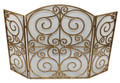 """BROMLEY MANOR"" 3-PANEL SCROLL DESIGN FIREPLACE SCREEN WITH MESH BACKING - ANTIQUE GOLD FINISH"