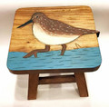 GENTLE SANDPIPER WOODEN FOOTSTOOL - FOOT STOOL - NAUTICAL DECOR