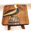 PELICAN ON PILING WOODEN FOOTSTOOL - FOOT STOOL - NAUTICAL DECOR