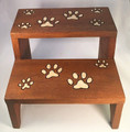 """PRECIOUS PAWS"" TWO-STEP WOODEN PET STEPS - GIFTS FOR CAT & DOG LOVERS"