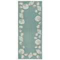 """PALM BEACH"" SEASHELL BORDER RUG - AQUA - 2' x 5' RUNNER - INDOOR OUTDOOR RUG"