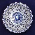 """GRAND PALACE"" SHALLOW CENTERPIECE BOWL - BLUE & WHITE PORCELAIN"