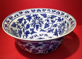 """BANGKOK GARDENS"" BLUE & WHITE PORCELAIN CENTERPIECE BOWL"