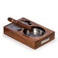 """TOLEDO"" STAINLESS STEEL CIGAR ASHTRAY IN WOOD CASE W/ CUTTER & PUNCH"