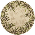 """""""ISLAND STYLE"""" INDOOR OUTDOOR TROPICAL FOLIAGE BORDER RUG - 7'6"""" ROUND"""
