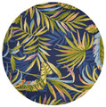 """""""TROPICAL ISLE"""" INDOOR OUTDOOR RUG - BLUE BACKGROUND - 7'6"""" ROUND"""