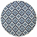 """ARABESQUE"" GEOMETRIC TILE DESIGN INDOOR OUTDOOR RUG - 7'6"" ROUND - IVORY / BLUE"
