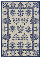 """DELFT FLORAL"" INDOOR OUTDOOR RUG - 7'6"" x 9'6"" - IVORY / BLUE"