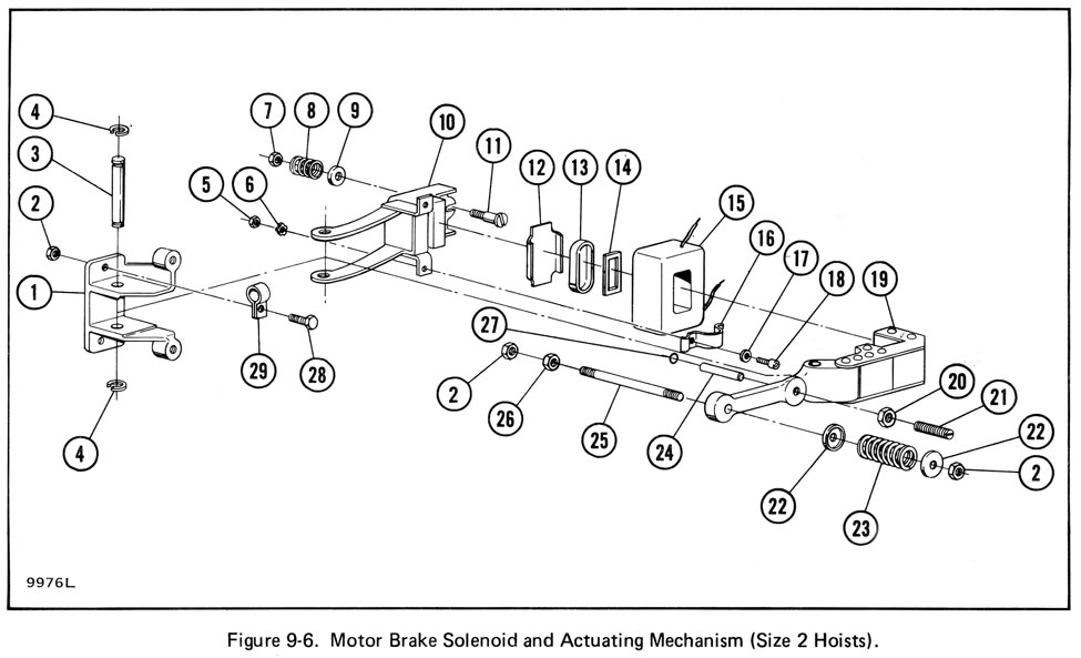 700 Series - Size 2 - Motor Brake Actuating Mechanism (Figure 9-6) (Old Style)