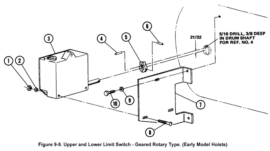 700 Series - Size 2 - Upper and Lower Limit Switch - Geared Rotary Type (Early Model Hoists) (Figure 9-9)