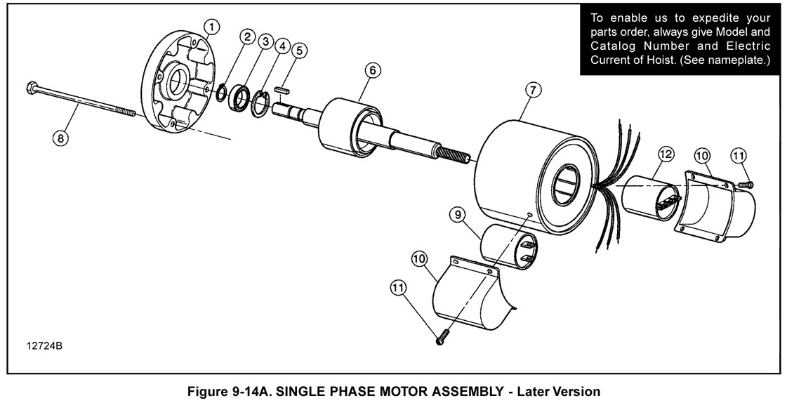 Single Phase Motor Assembly - Later Version (Figure 9-14A)
