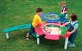 """Separate sand and water stations. 24"""" bowls; 1/2"""" drain plugs; includes 1 lid for sand bowl."""