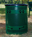 BarkPark™ Trash Cans feature laser cut paw prints and bones to coordinate with the BarkPark™ equipment icons.
