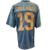Show everyone who the true fan is with this Kenny Golladay Autographed Custom Blue Football Jersey, with its classic style. Cheer on the Honolulu blue and silver on game day with stitched numbers and lettering to make it feel like the real thing. Autographed by Kenny Golladay in our store on Saturday, October 21, 2017. Comes with authentication sticker and certificate of authenticity.