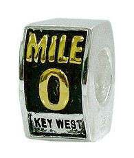 "Gold Vermeil ""Key West"" Mile 0 Bead"