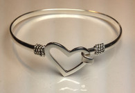 Silver Plated Heart Hook Bracelet