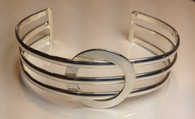 Silver Plated Circle Fashion Cuff Bracelet
