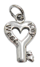 """Key to my Heart"" Key West Charm. Sterling Silver."