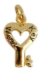 """Key to my Heart"" Key West Charm. Gold Vermeil over Sterling Silver."