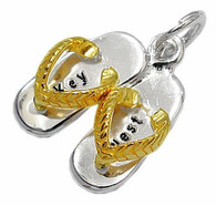 "Flip Flop ""Key West"" Charm. Sterling Silver and Gold Vermeil."