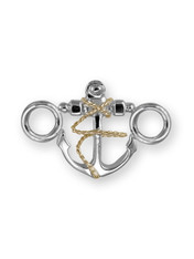 Sterling Silver Anchor Clasp with 14K Gold Accent.