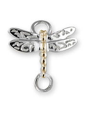 Sterling Silver Dragonfly Clasp with 14K Gold Accent.