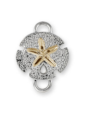 Sterling Silver Sand Dollar Non Polished Clasp with 14K Gold Accent.