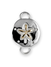 Sterling Sand Dollar Polished Clasp with 14K Gold Accent. - SPECIAL ORDER