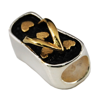 Flip Flop Gold Hearts Key West Bead