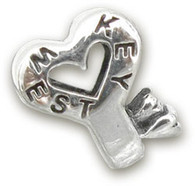 Key West Heart Key Sterling Silver Bead