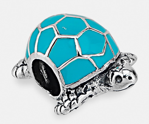 Key West Turtle Bead with Blue Enamel, Sterling Silver