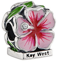 Key West Pink Hibiscus with CZ and Enamel