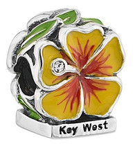 Key West Yellow Hibiscus with CZ and Enamel