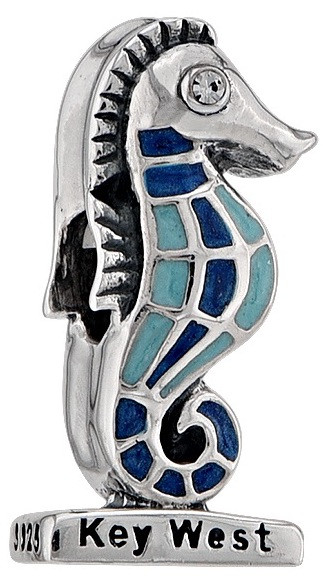 Key West Seahorse with CZ and Enamel