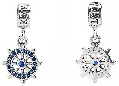 Key West Ships Wheel with CZ. Sterling Silver