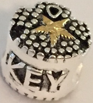 Key West Sand Dollar Bead with Gold Vermeil and Silver Silver