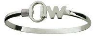 SS 4MM KEY WEST HOOK BRACELET W/RHODIUM