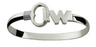 SS 6MM KEY WEST HOOK BRACELET W/RHODIUM
