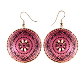 CE20005 Starbust/Scroll Border (Round- Pink Background w/ Black Design) Paykoc Copper Earrings