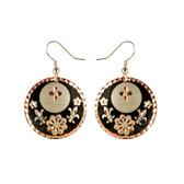 CE30002 Fleur-de-Lis (Round- Black Flower & Fleur-de-Lis design on Border) Paykoc Copper Earrings