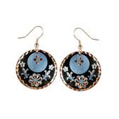 CE30003 Fleur-de-Lis (Round- Black Flower & Fleur-de-Lis design on Border) Paykoc Copper Earrings