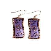CE40007 Swirling Flower (Wavy Rectangle- Purple Background w/ Black Design) Paykoc Copper Earrings